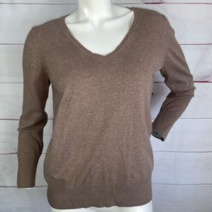 H&M brown v-neck long sleeve sweater size Large